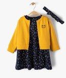 Ensemble bébé fille 3 pièces : robe + gilet + bandeau vue1 - GEMO(BEBE DEBT) - GEMO