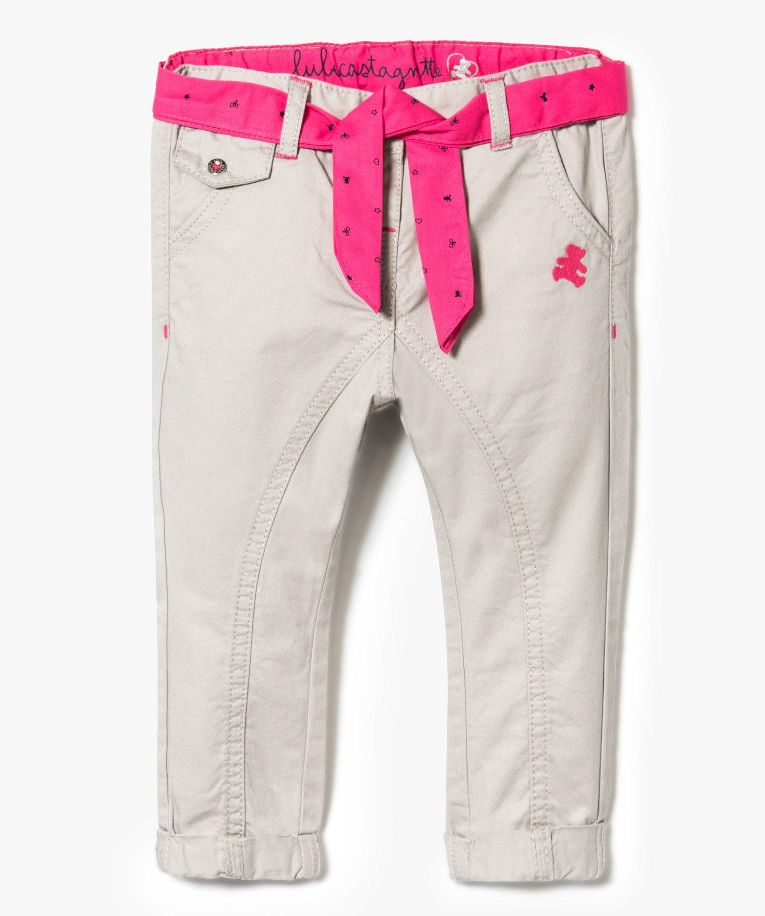 Pantalon façon jodhpurs avec ceinture foulard