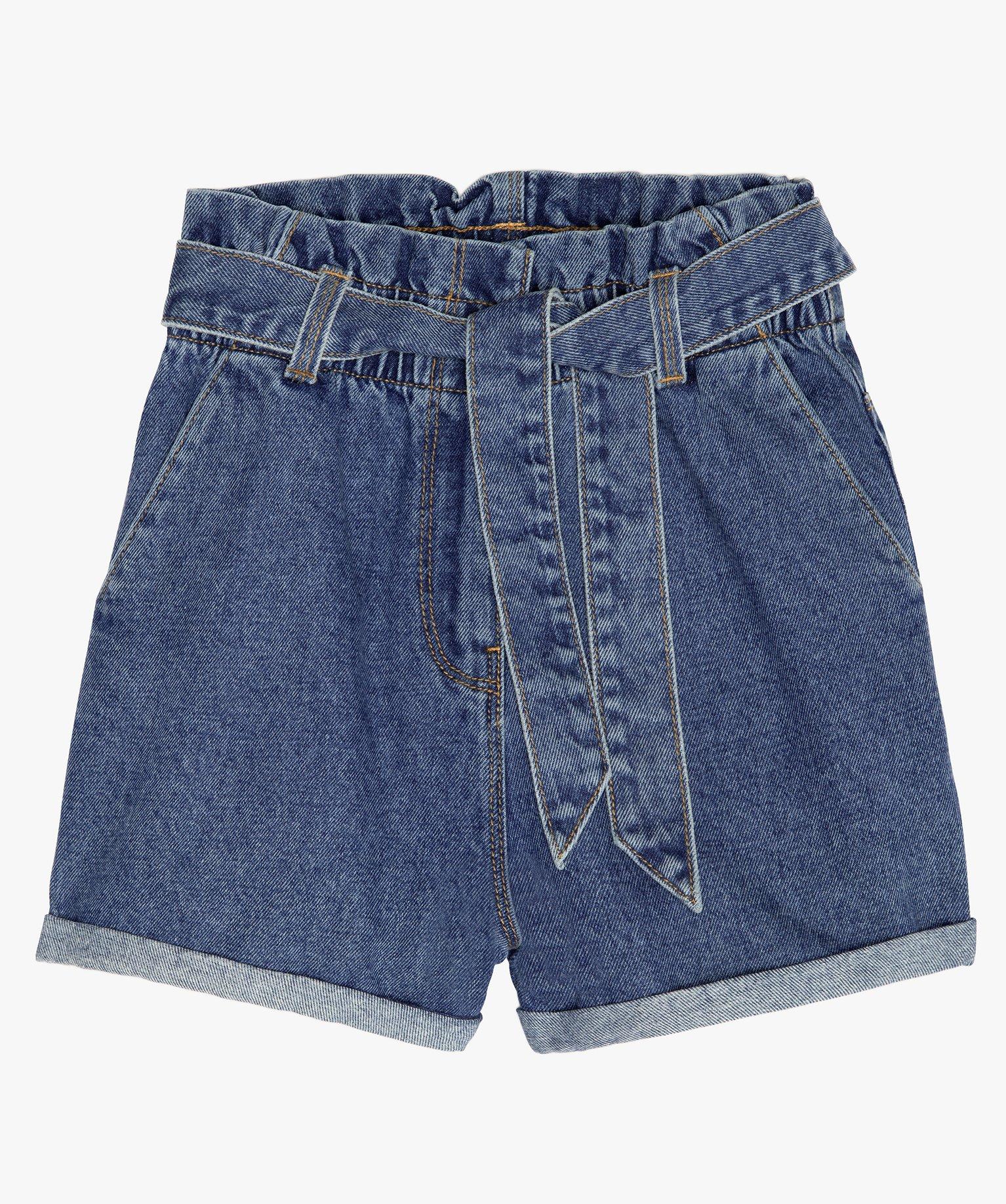 Short fille en jean taille haute avec ceinture à nouer
