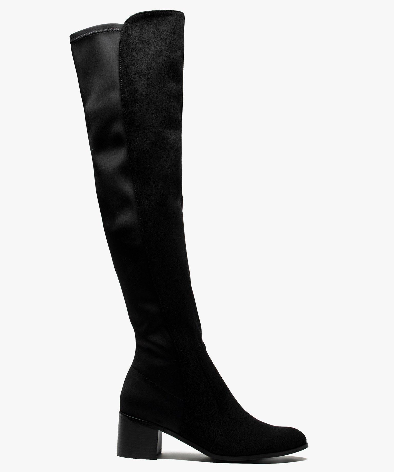 Bottes cuissardes femme bi-matières avec petit talon