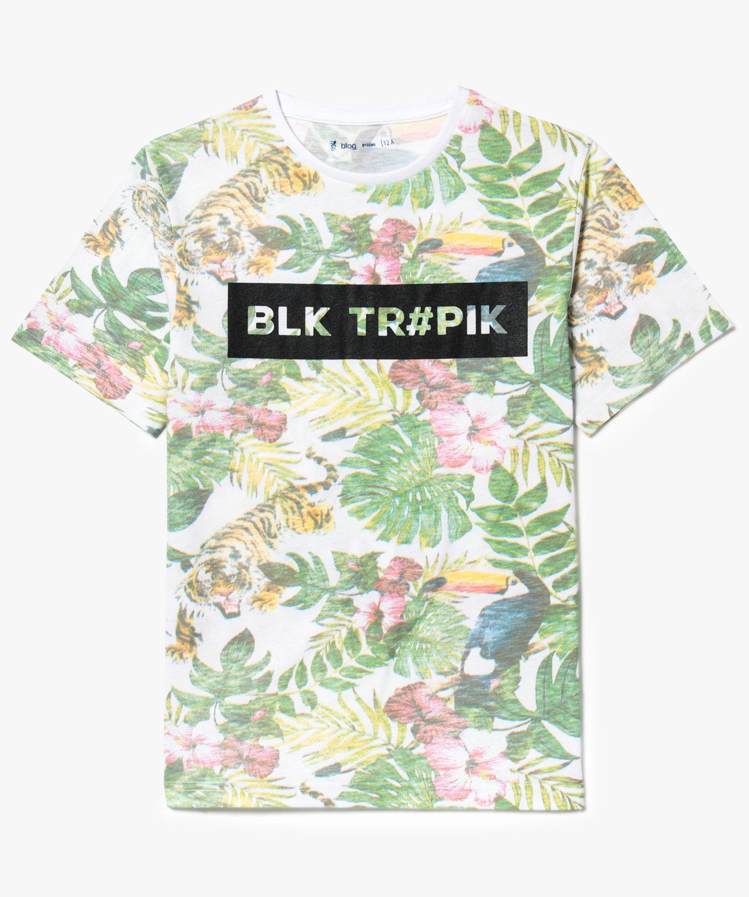 Tee-shirt imprimé jungle effet délavé