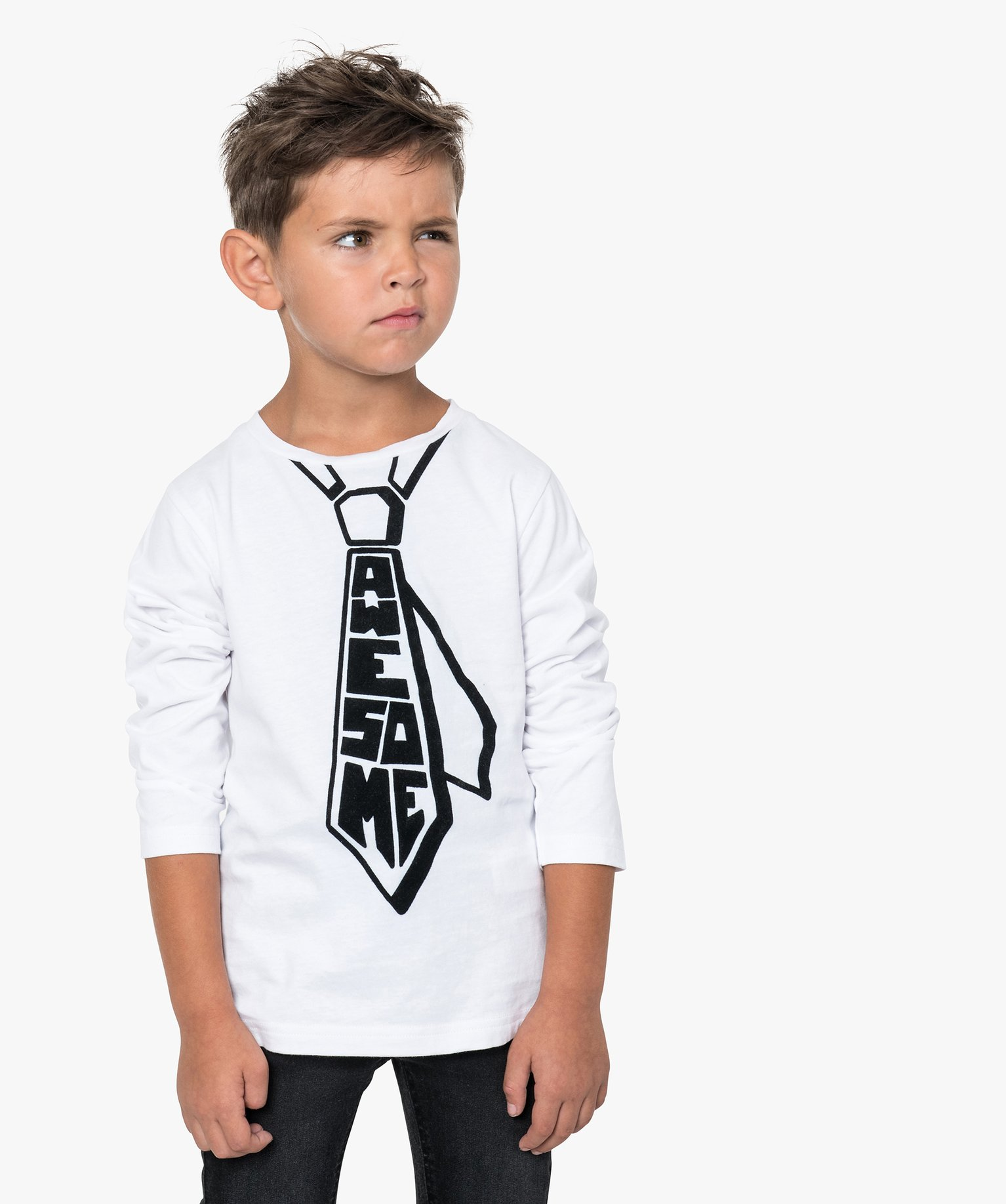 Tee-shirt garçon avec cravate imprimée