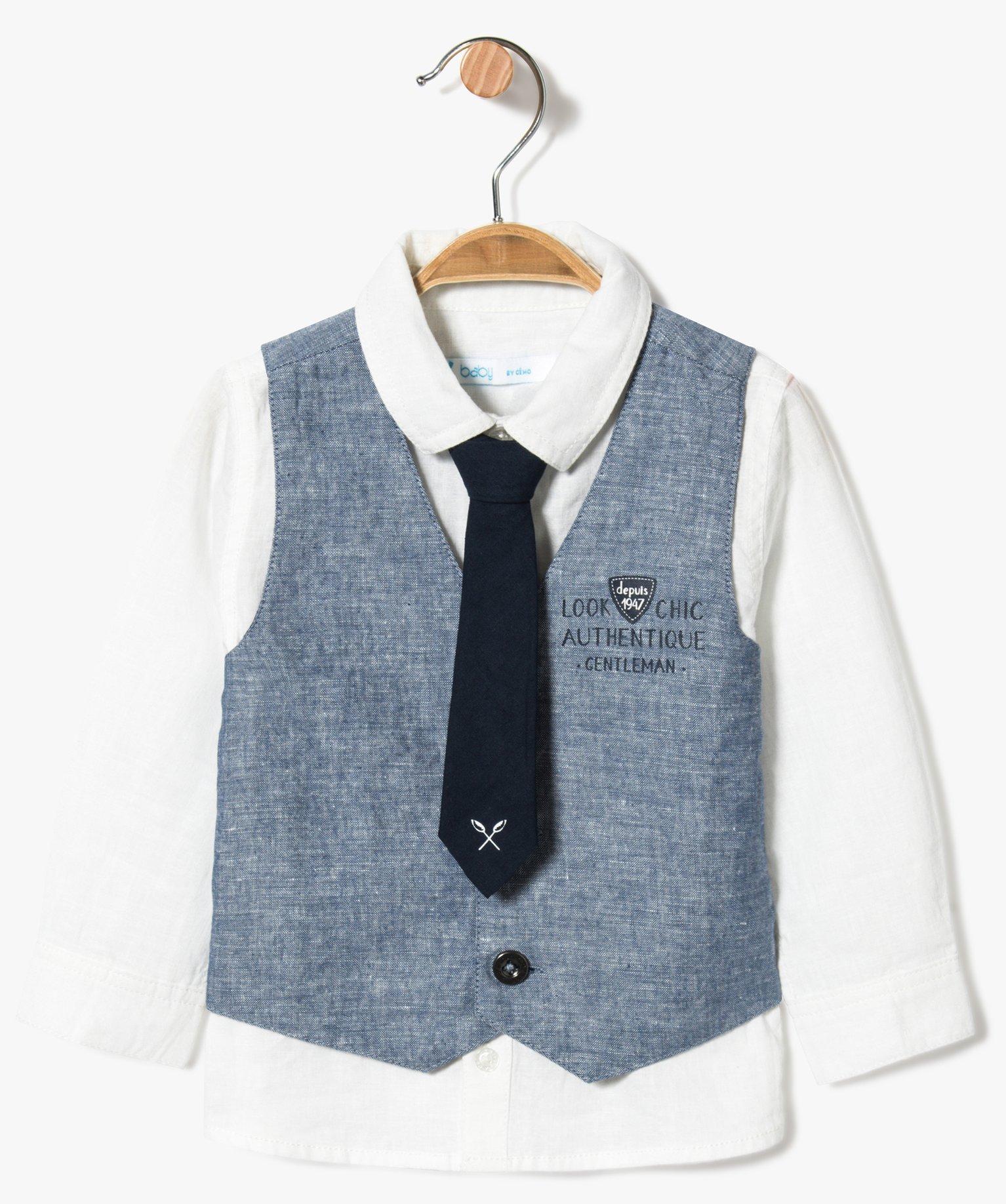 Ensemble 3 pièces chic : chemise + gilet sans manches + cravate