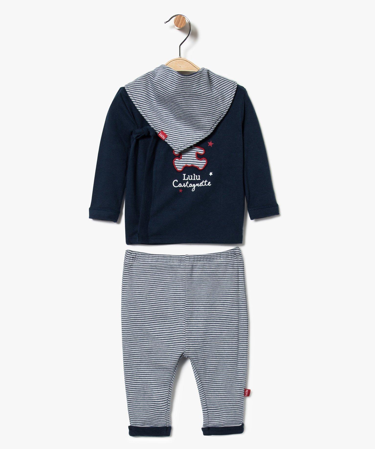 Pyjama bébé garçon 2 pièces avec foulard assorti - Lulu Castagnette