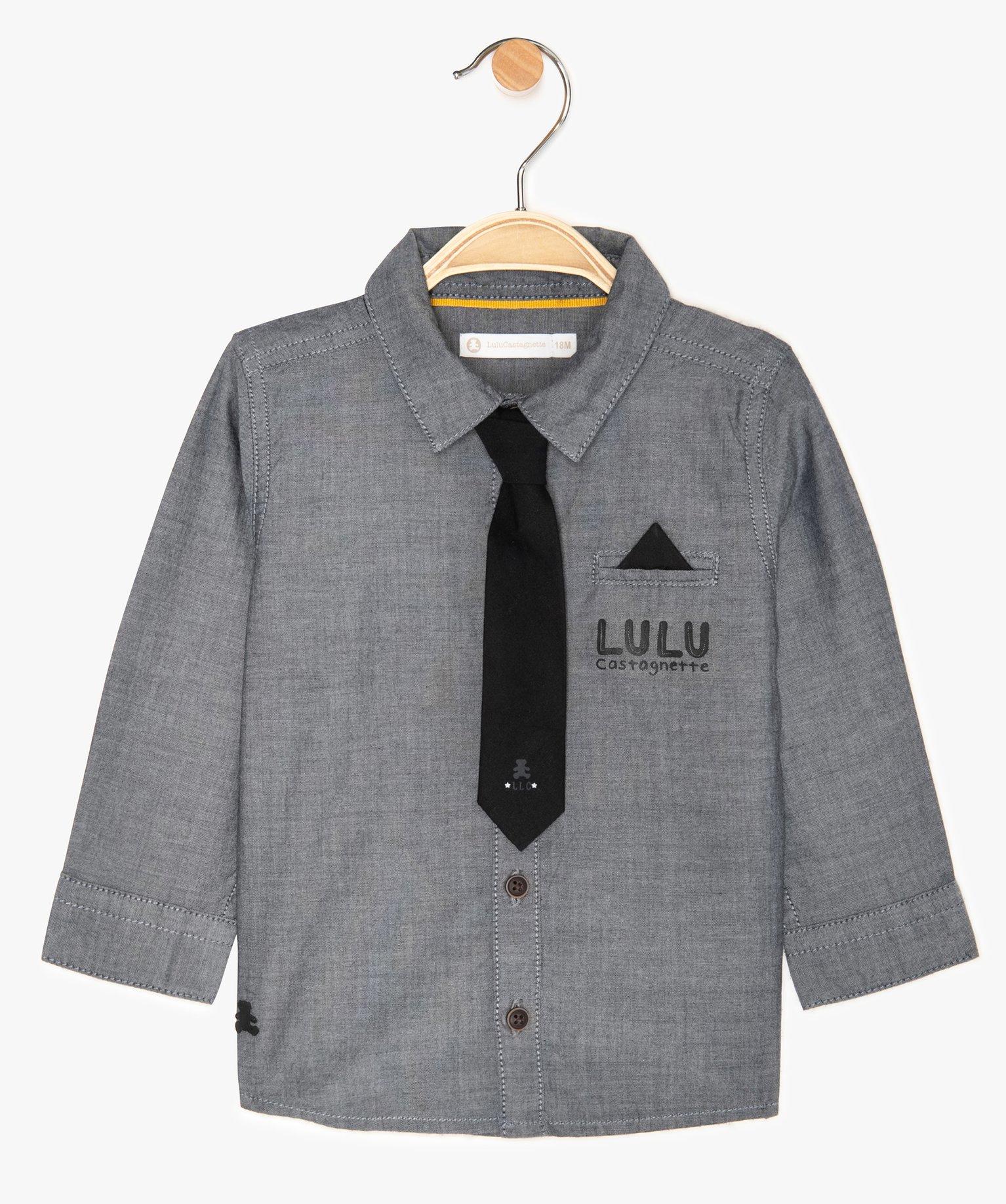 Chemise bébé garçon avec cravate à scratch – Lulu Castagnette
