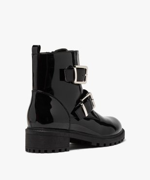 Boots femme vernies à talon plat et brides à boucle vue4 - GEMO (CASUAL) - GEMO