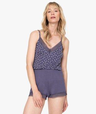 Haut de pyjama femme à fines bretelles et dentelle vue1 - GEMO(HOMWR FEM) - GEMO