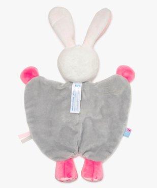 Doudou bébé fille forme lapin avec attache tétine - Sucre d'Orge vue2 - SUCRE D'ORGE - GEMO