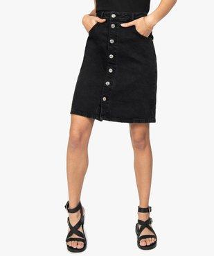 Jupe femme en jean mi-longue boutonnée sur l'avant vue1 - GEMO(FEMME PAP) - GEMO