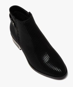 Boots femme à talon plat dessus en suédine à motifs vernis vue5 - GEMO (CASUAL) - GEMO