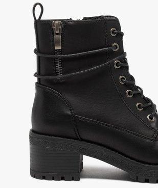 Boots fille unies à talon et semelle crantée fermeture zip vue6 - GEMO (ENFANT) - GEMO