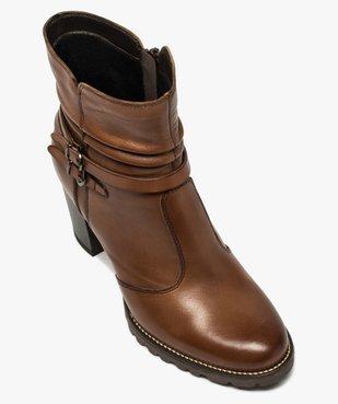Boots femme à talon dessus cuir uni et brides décoratives vue5 - GEMO(URBAIN) - GEMO