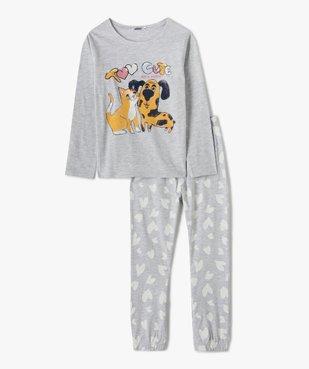 Pyjama fille avec motif chien et chat vue1 - GEMO (ENFANT) - GEMO