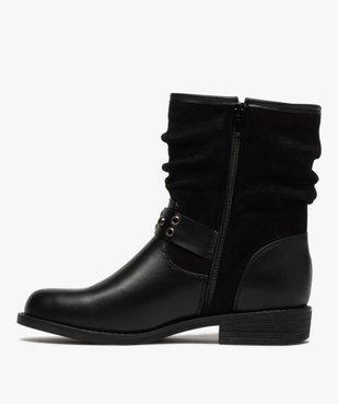 Boots femme style motardes unies à talon plat vue3 - GEMO (CASUAL) - GEMO