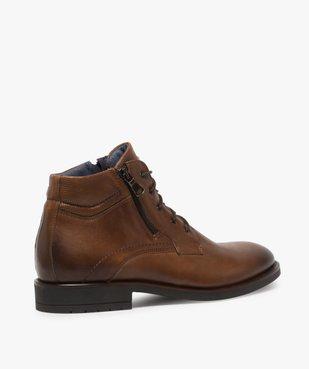 Boots homme zippés dessus cuir uni fermeture lacets vue4 - GEMO (CASUAL) - GEMO