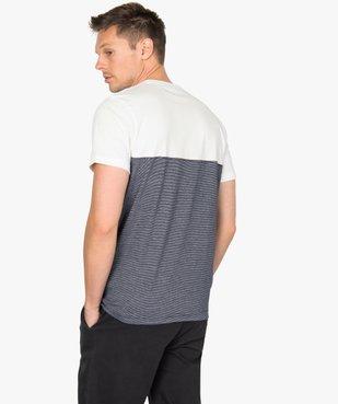 Tee-shirt homme à manches courtes bicolore uni/rayé vue3 - GEMO (HOMME) - GEMO