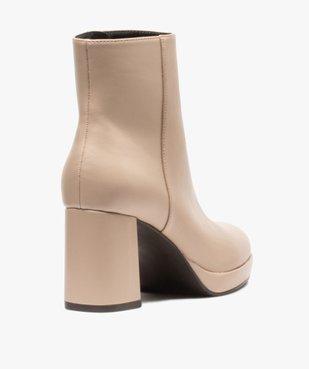 Boots femme unies à talon carré et semelle plateforme vue4 - GEMO(URBAIN) - GEMO