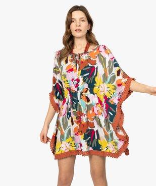 Robe de plage femme style bohème à fleurs et dos macramé vue1 - GEMO (PLAGE) - GEMO