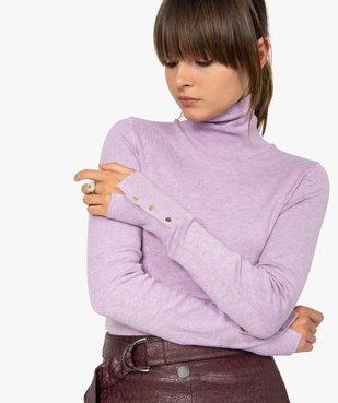 Pull femme à col roulé et boutons sur les poignets vue1 - GEMO(FEMME PAP) - GEMO