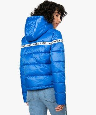 Doudoune femme à capuche et bande imprimée vue3 - FOLLOW ME - Nikesneakers