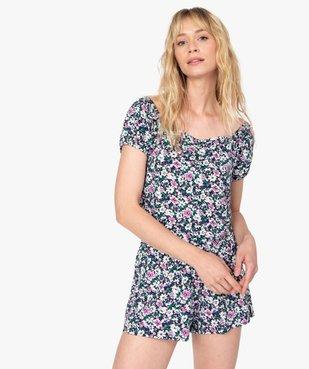 Haut de pyjama femme à motifs fleuris – Lulu Castagnette vue1 - LULUCASTAGNETTE - GEMO