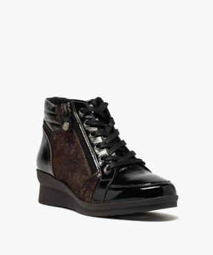 Boots femme confort zippées à talon compensé  vue2 - GEMO (CASUAL) - GEMO