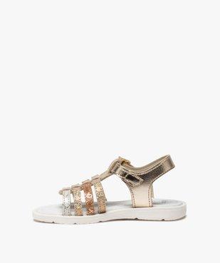 Sandales fille à brides multiples métallisées vue3 - GEMO (ENFANT) - GEMO
