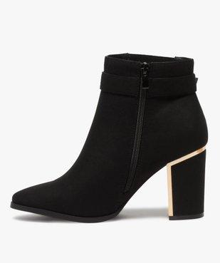 Boots femme à talon unis en suédine détails métallisés vue3 - GEMO(URBAIN) - GEMO