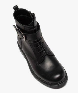 Boots fille zippées à lacets et bride décorative dessus cuir uni vue5 - GEMO (ENFANT) - GEMO