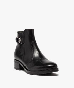 Boots femme à talon plat unis dessus cuir et bride fantaisie vue2 - GEMO (CASUAL) - GEMO
