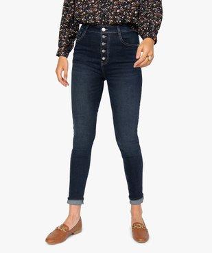 Jean femme skinny brut à taille haute et boutonnière vue1 - GEMO(FEMME PAP) - GEMO