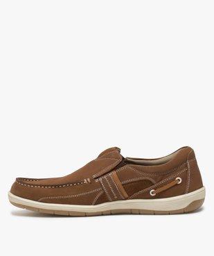 Chaussures bateau homme unies en cuir – Terre de Marins vue3 - TERRE DE MARINS - GEMO