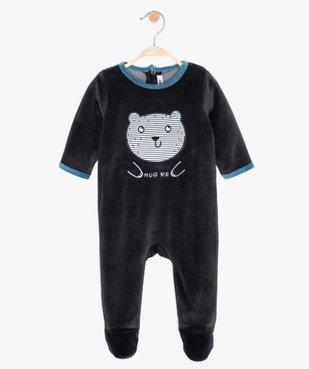 Pyjama bébé en velours doux imprimé ours animé vue1 - GEMO(BB COUCHE) - GEMO