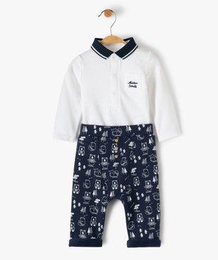 Ensemble bébé garçon 2 pièces : body + pantalon motif ours vue1 - GEMO(BB COUCHE) - GEMO