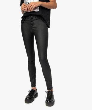 Pantalon femme coupe skinny taille haute en toile enduite vue1 - GEMO(FEMME PAP) - GEMO