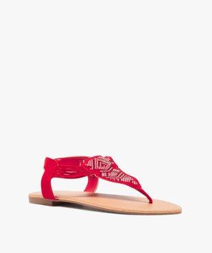 Sandales femme à entre-doigts brides élastiquées à strass vue2 - GEMO (CASUAL) - GEMO
