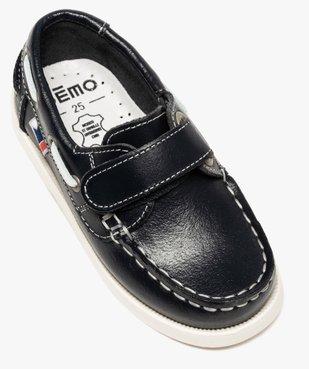 Chaussures bateau garçon dessus cuir à fermeture scratch vue5 - GEMO (ENFANT) - GEMO