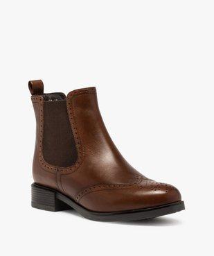 Boots femme style chelsea unis à bout fleuri vue2 - GEMO (CASUAL) - GEMO