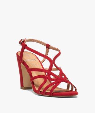 Sandales femme unies à talon et fines brides entrelacées vue2 - GEMO(URBAIN) - GEMO