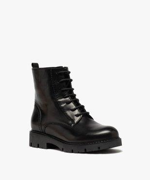 Boots fille en cuir uni style godillots à semelle crantée vue2 - GEMO (ENFANT) - GEMO