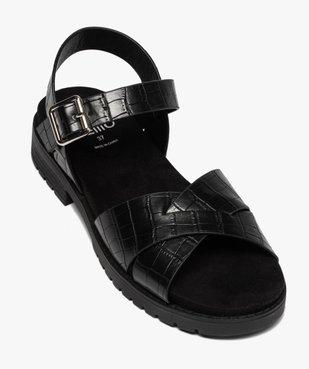 Sandales femme à semelle crantée et larges brides croco vue5 - GEMO (CASUAL) - GEMO
