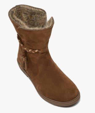Boots fille unies en cuir fermeture zippée et doublure douce vue5 - Nikesneakers (ENFANT) - Nikesneakers