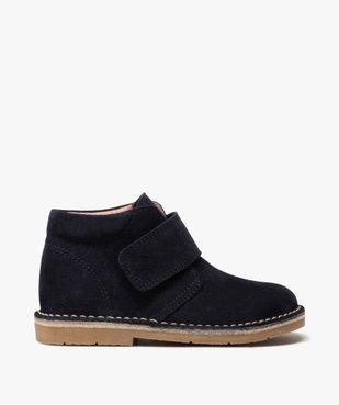 Boots enfant unis en cuir à fermeture scratch vue1 - GEMO (ENFANT) - GEMO