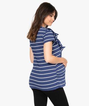 Tee-shirt de grossesse rayé à message et volants vue3 - Nikesneakers (MATER) - Nikesneakers
