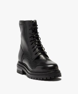 Boots femme unis style rock à lacets et semelle crantée vue2 - GEMO (CASUAL) - GEMO