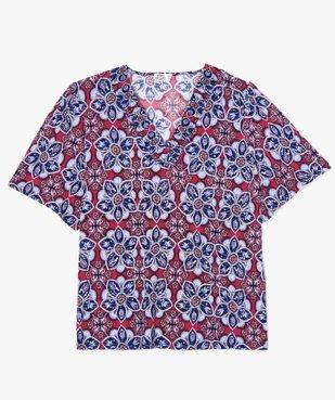 Tee-shirt femme  à motifs fleuris et col V smocké vue4 - GEMO (G TAILLE) - GEMO