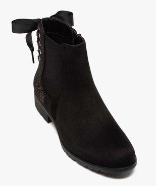 Boots femme chelsea zippées avec ruban sur le contrefort vue5 - GEMO (CASUAL) - GEMO