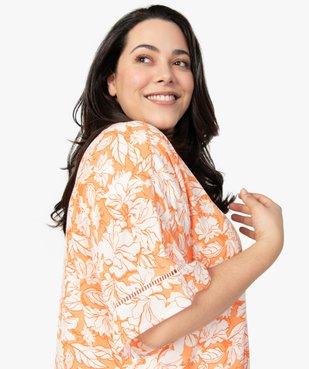 Chemise femme kimono fluide à fleurs vue2 - GEMO (G TAILLE) - GEMO
