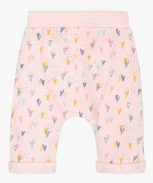 Pantalon bébé fille en maille à motifs cœurs  vue2 - GEMO(BB COUCHE) - GEMO