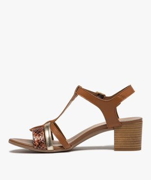 Sandales femme à talon carré et brides en cuir vue3 - GEMO(URBAIN) - GEMO